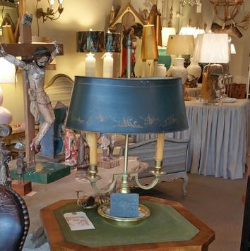Antique French Brass 2 arm table lamp with black metal shade vintage antique with custom bespoke candle covers sleeves