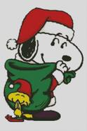 Cross Stitch Chart of Christmas with Snoopy and Woodstock