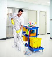 Janitor with mop and cart