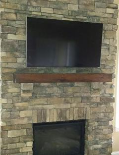 tv mounted to stone fireplace in charlotte nc,