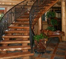 Curved log stairway, curved staircase