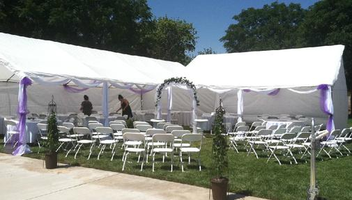 OUTDOOR TENT, TABLES, AND CHAIRS SET-UP