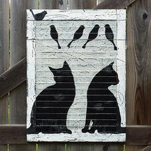 Kitties Cats Birds Shutter Art BarkingDogSalvageAndDesign