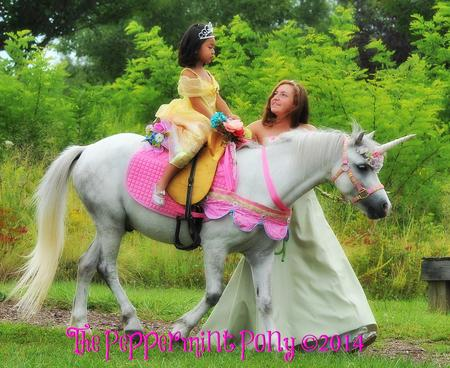 beautiful princess pony walker leading a white unicorn with princess riding.