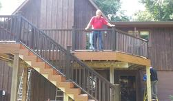 Fiberon composite deck with composite handrail