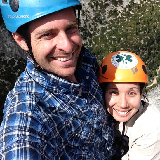 Stone Adventures - Joshua Tree Rock Climbing Guides Annie and Aron on top of Traveler Buttress, 5.9 in South Lake Tahoe, CA