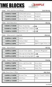 Time Block Sheet For REALTORS
