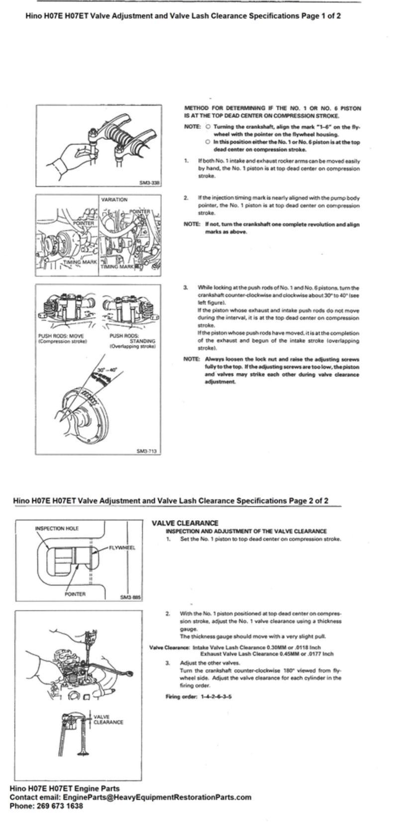 Hino Engine Parts - Hino H07E H07ET, Valve Adjustment