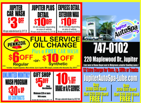 Jupiter Auto Spa and Lube Coupons exp 03312017
