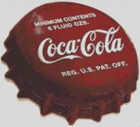 Cross Stitch Chart Pattern of Coca Cola Bottle Cap
