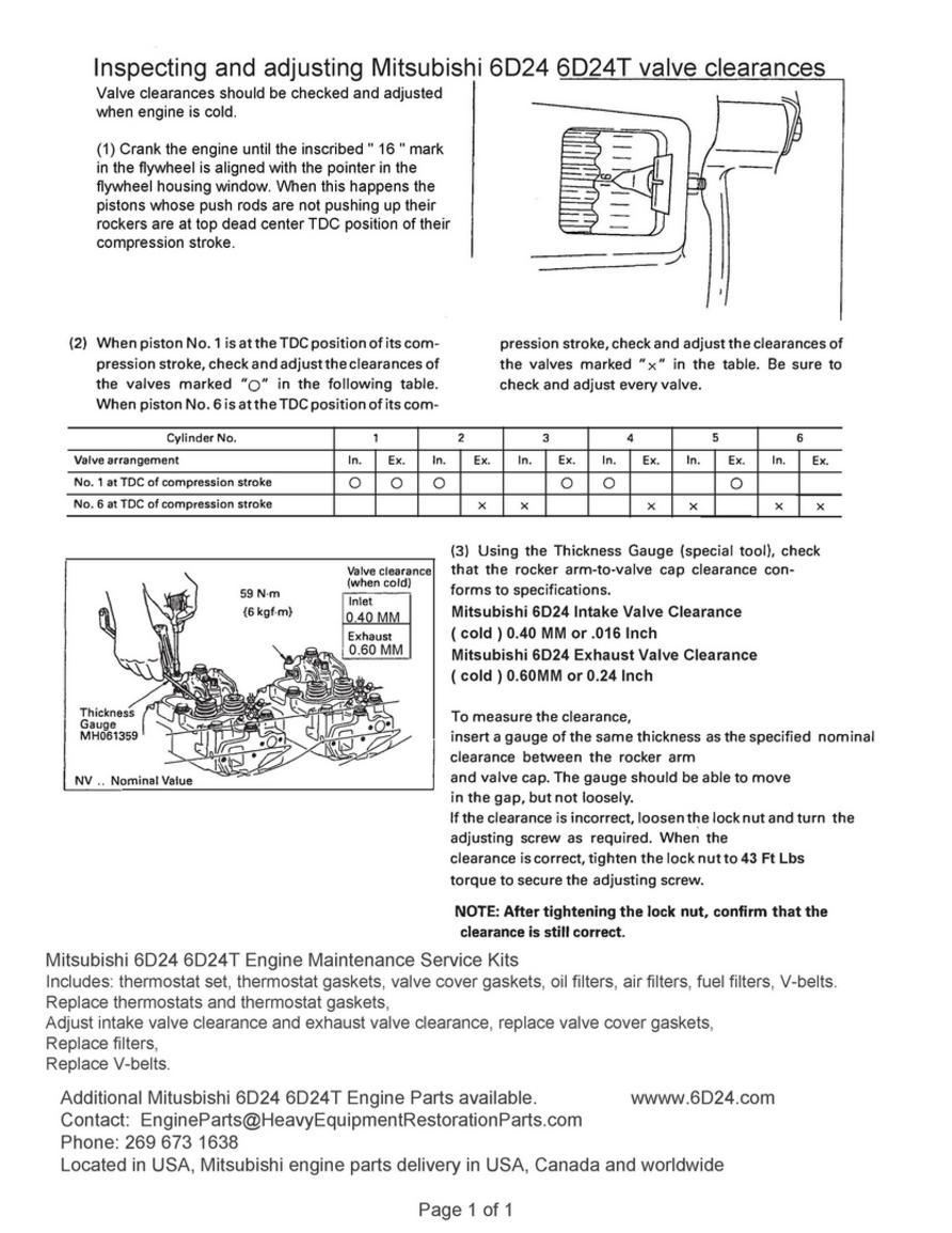 Mitsubishi 6D24 6D24T Parts - Mitsubishi 6D24, Valve Adjustment