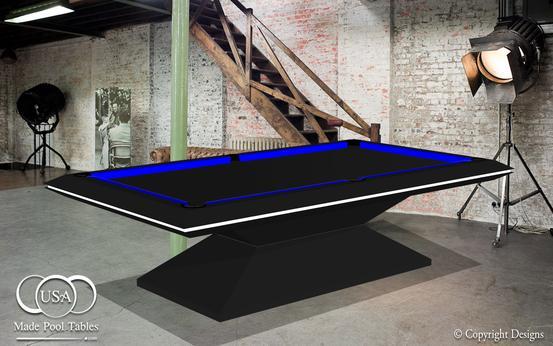 Industrial Pool Tables Custom Pool Tables Metal Pool Tables - Black modern pool table