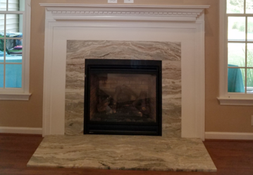 Fantasy Brown Quartzite fire place surround and hearth