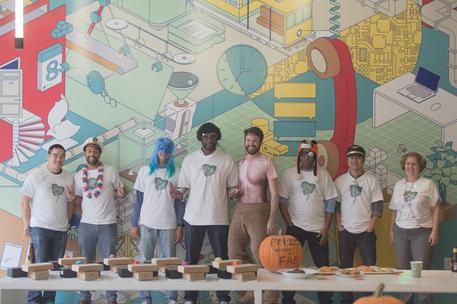 group of tech workers in costume contest