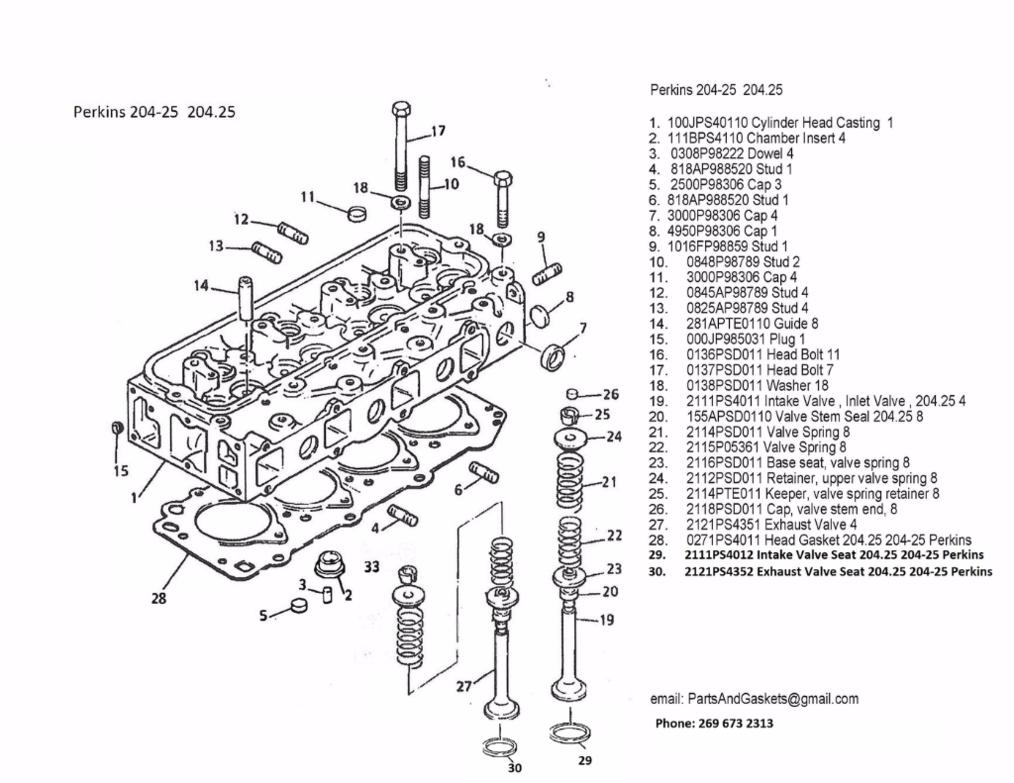 Perkins 204-25 Intake Valves, Exhaust Valves, Valve Guides