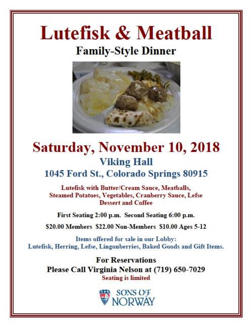 2018 Lutefisk Dinner