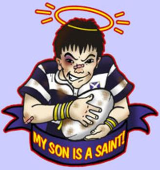cartoon rugby player saint
