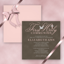 elegant cross dove baby girl square first holy communion invitations