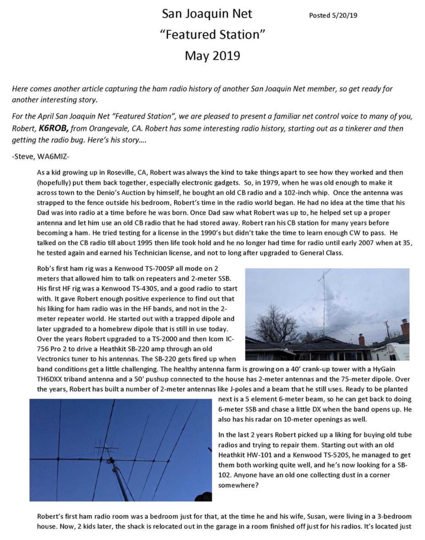 San Joaquin HF Net 3918 kHz Member News