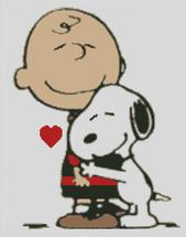 Cross Stitch Chart of Charlie Brown and /snoopy Hugging
