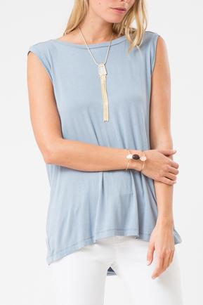 Blue Open Back Drape Top