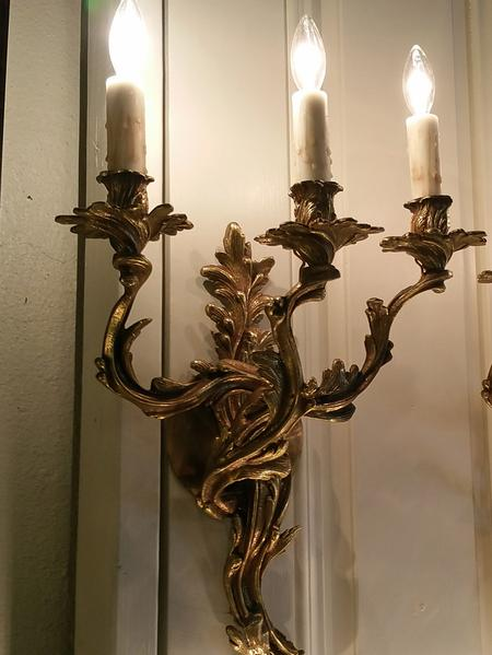 antique vintage european brass wall mount sconce 3 arm with hand made candle covers sleeves old world design style classic electric