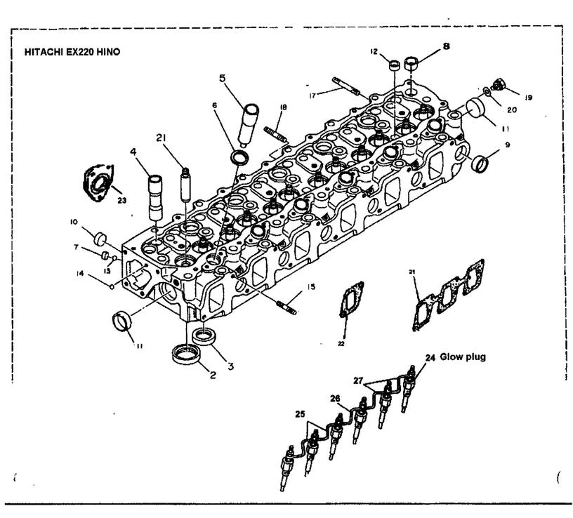 Hino Cylinder Head Parts - Hitachi EX220 Engine Parts