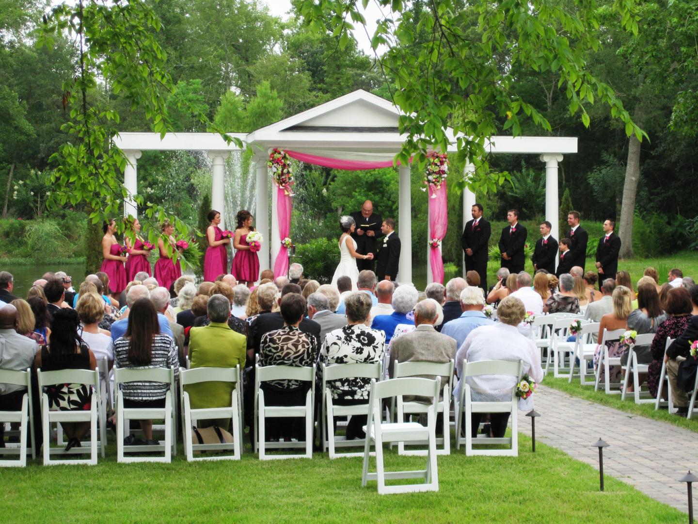 greek temple outdoor wedding ceremony site
