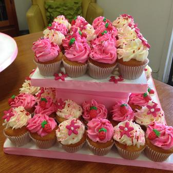 strawberry cupcakes, pink, white cupcakes, floral, sprinkles, dessert table display