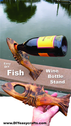 DIY easy Balancing Nautical Fish Shaped Wine bottle stand. Easy woodworking project. www.DIYeasycrafts.com