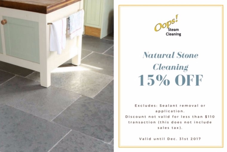 natural stone cleaning coupon for marble and travertine floors for a 15 percent discount, coupon linked to natural stone cleaning page