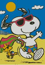 Cross Stitch Chart of Snoopy and Woodstock at the beach
