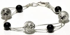 Murano Glass White Gold and Black Bracelet