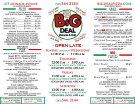 Big Deal Pizzeria & Grill Menu Front