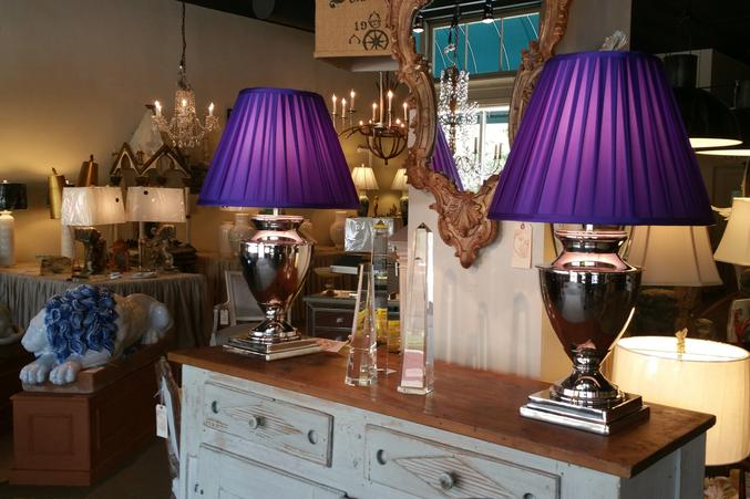 Fine Chrome nickel polished pair of table lamps with custom bespoke pleated shades in the NeoClassical French Style