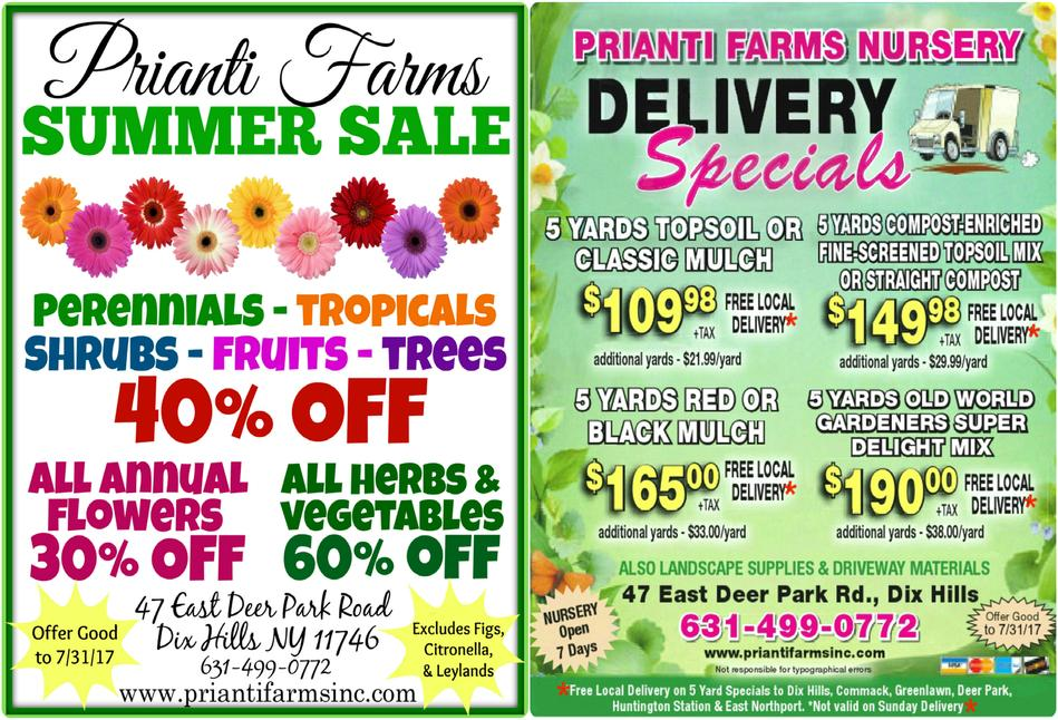 Prianti Mulch Soil Delivery Specials Sale Savings Trees Shrubs Perennials Plants