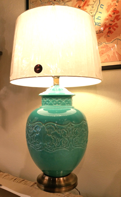 Green Porcelin Chinese oriental large table lamp with metal base and white linen shade