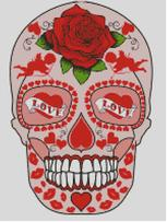 Cross Stitch Chart of Sugar Skull No 43 (St Valentines Day)