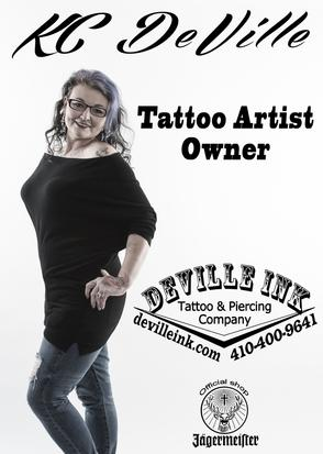 KC deville deville ink tattoo and piercing company baltimore female tattooist