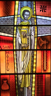 Image of one of St. Raphael's stained glass windows