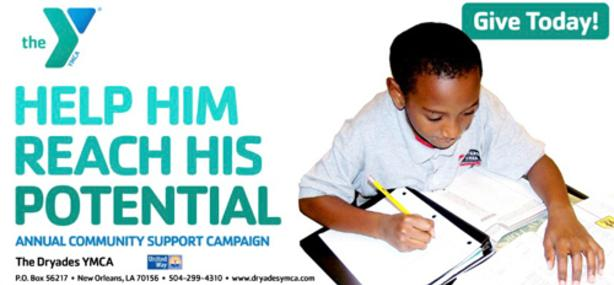 YMCA Banner - Help Him Reach his Potential. Shows a young black student studying.