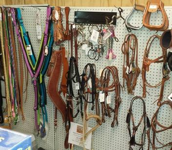 A picture showing some of the horse tack that we carry