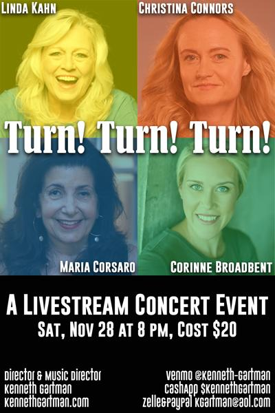 """Turn! Turn! Turn!"" featuring Corinne Broadbent, Christina Connors, Maria Corsaro and Linda Kahn"