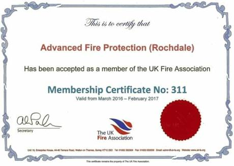 UK Fire Association Certificate