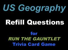 US Geography Trivia Cards for RUN THE GAUNTLET game