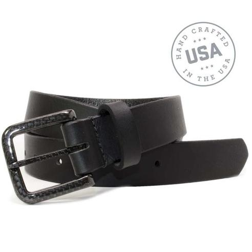 The Specialist Black Belt - metal free 100% carbon fiber buckle and full grain leather