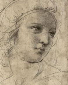 Raffaello Sanzio, called Raphael (1483-1520), Head of a Muse, c. 1510.Images may be subject to copyright