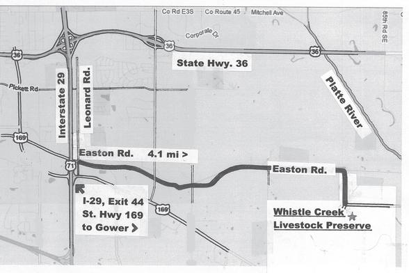 Map to Whistle Creek Livestock Preserve