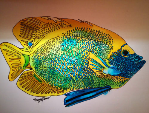 Tracy Harris silk Artist, Gutta, Dyes, Blue Angelfish, Limited Edition Prints Available, San Diego Artist Tracy Harris