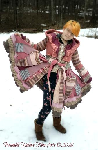 Strawberry Shortcake pink Katwise inspired recycled sweater coat